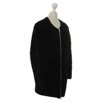 Sandro Fur coat in black