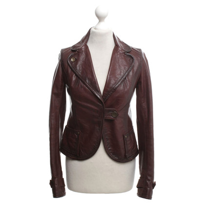 Patrizia Pepe Leather jacket in dark brown