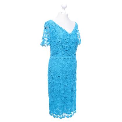 Escada robe de dentelle en turquoise foncé