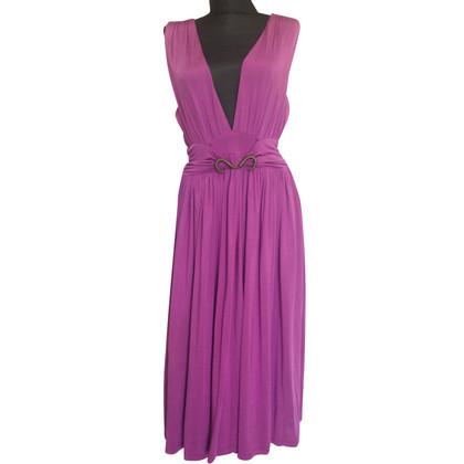 Just Cavalli full skirt purple midi dress