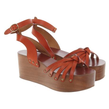Isabel Marant Sandalen mit Keilabsatz Braun