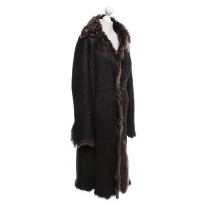 Andere merken Prandina - lamsvel jas in bruin