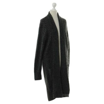 Closed Cappotto in maglia nero grigio screziato