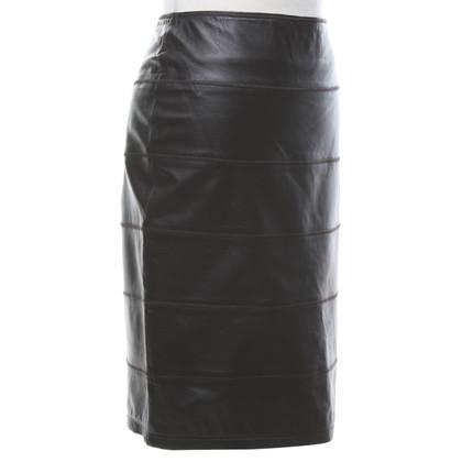 Steffen Schraut Leather skirt in brown