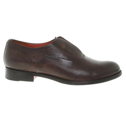 Santoni Lederen slipper in bruin