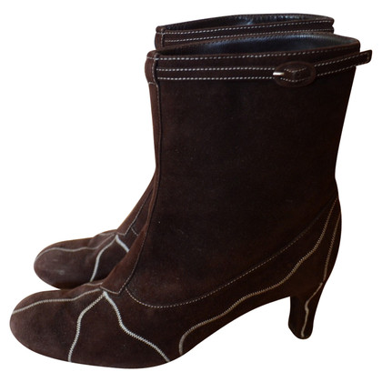 Marni Wild leather ankle boots dark brown