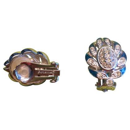 Christian Dior Clip oorbellen met strass