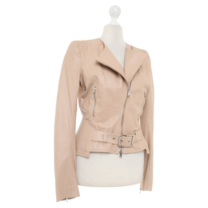 Patrizia Pepe Powder-colored short jacket in biker style