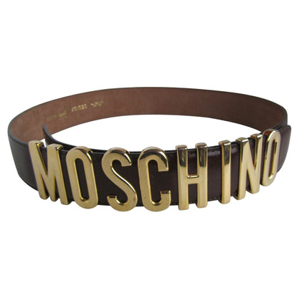 Moschino cintura in pelle marrone.