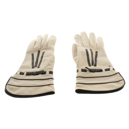 Other Designer Cream-colored leather gloves