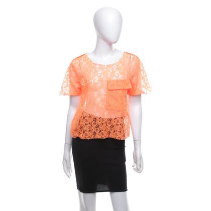 MSGM Lace top in neon orange