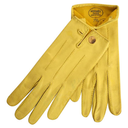 Hermès Leather gloves in yellow