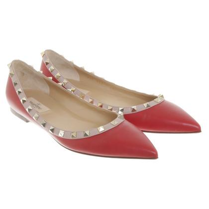 Valentino Rockstud ballerinas in red