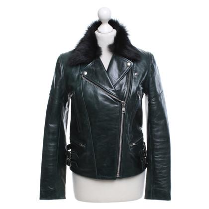 Victoria Beckham Leather jacket in dark green