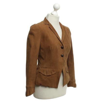 Diane von Furstenberg giacca scamosciata in marrone