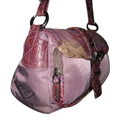 Prada Canvas Shoulder Bag / python