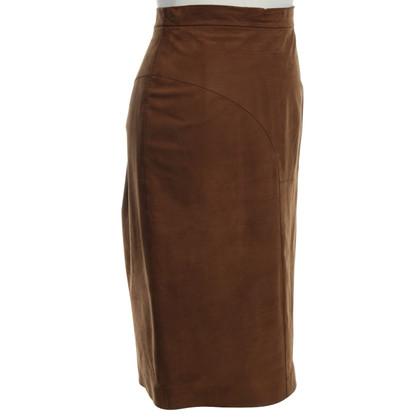 Yves Saint Laurent Lederen rok in bruin