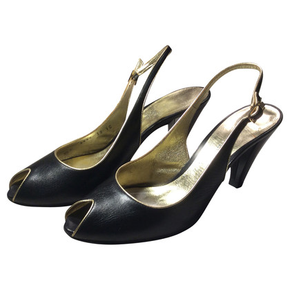 Escada Black gold slingback  peeptoe Pumps