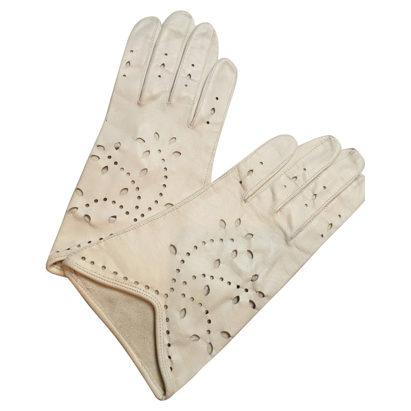 Escada Leather gloves with lace pattern