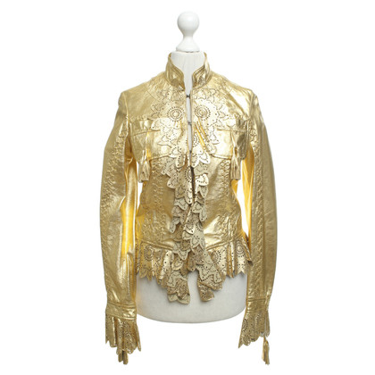 Just Cavalli Lederjacke in Gold