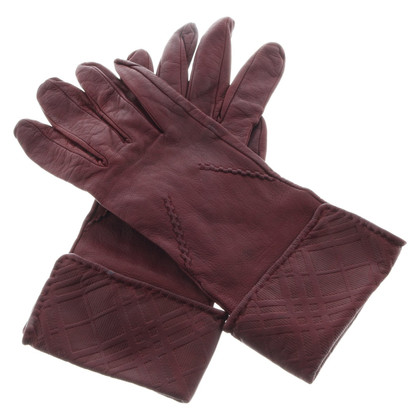 Burberry Lederen handschoenen in Bordeaux