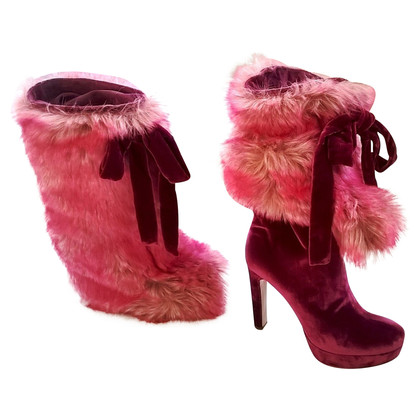 Miu Miu PINK FAUX FUR COVERED VELVET BOOTS