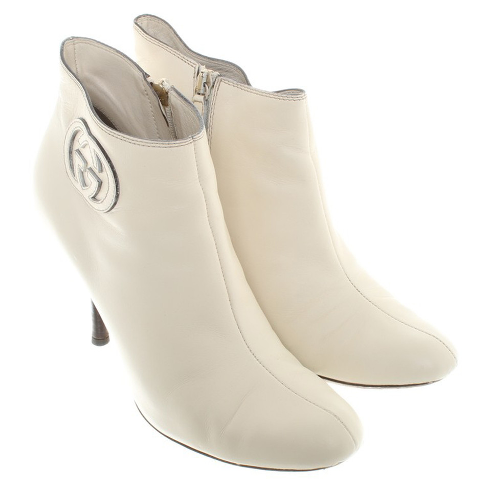 Gucci White leather booties