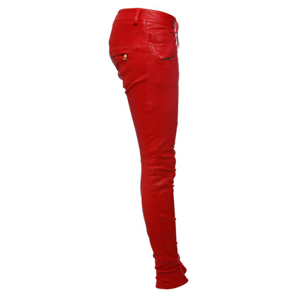 Balmain Leather pants in red