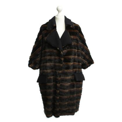 Marni Striped mink coat