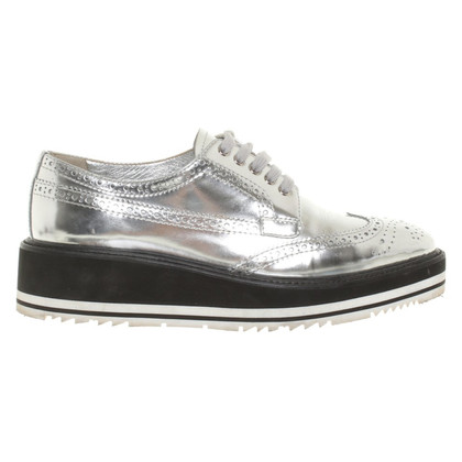 Prada Silver lace-up shoes