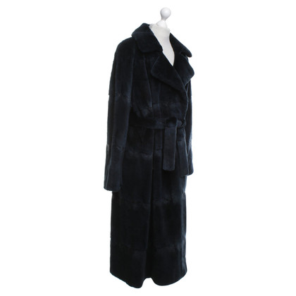 Jil Sander Real fur coat in dark blue