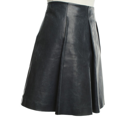 Versace Leather skirt in blue with pleats