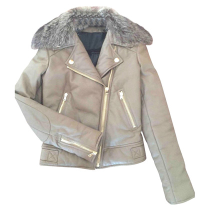 Yves Salomon Leather jacket with fur collar