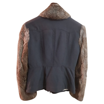 Strenesse Blue Jacket with fur trim