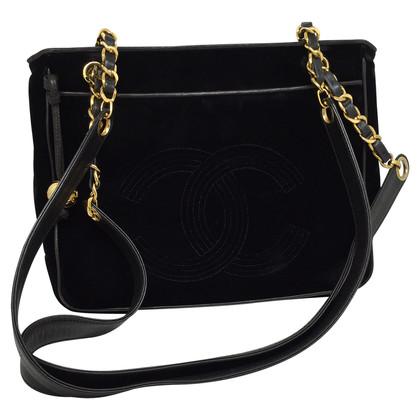 Chanel Fluweel handtas in zwart