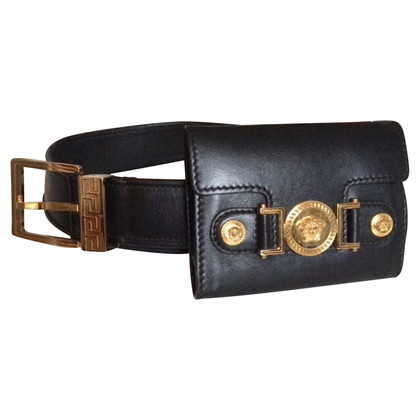 Versace BLACK LEATHER LOGO BELT WITH COIN POUCH