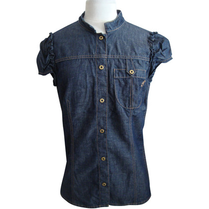 Escada Kurzarm-Bluse in Jeans-Optik
