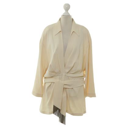 Mugler Silk Blazer in beige