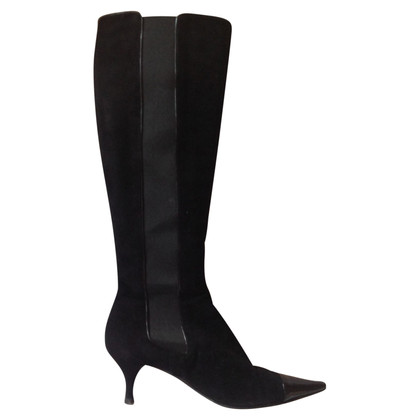 Chanel Wildlederstiefel in Schwarz