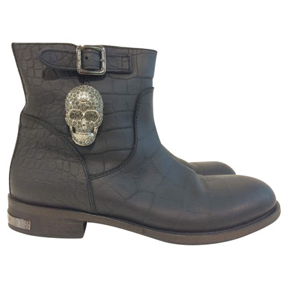 Philipp Plein Black ankle boots