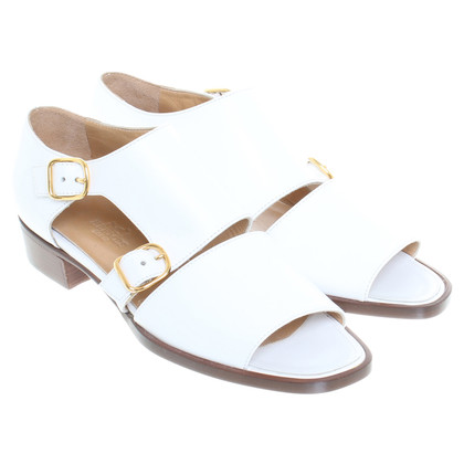 Hermès Leather sandals in white