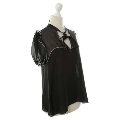 D&G Black silk short sleeve blouse