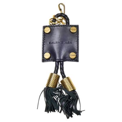 Balenciaga Schlüsselanhänger aus schwarzem Leder