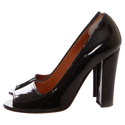 Lanvin black patent leather peeptoe