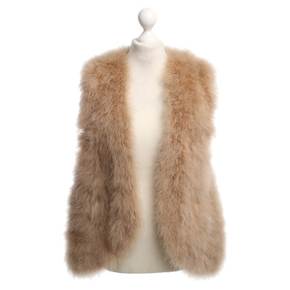 Haute Hippie Feather vest in Nude