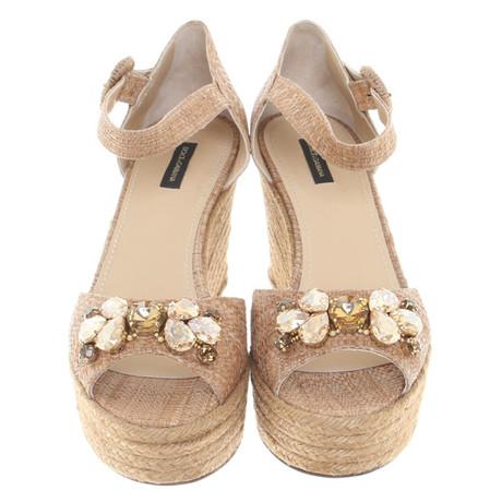 Dolce & Gabbana Wedges aus Bast Beige Am Billigsten kS27F6PUg