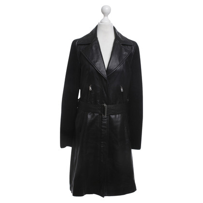 Marc Cain Leather coat in black