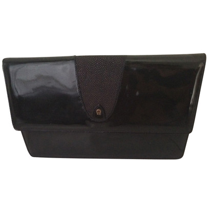 Aigner clutch patent leather
