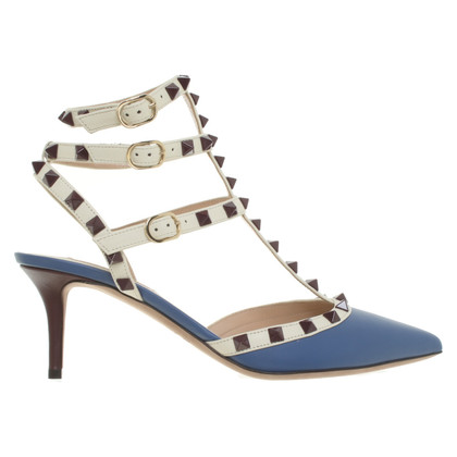 Valentino Rockstud-pumps in blu / crema