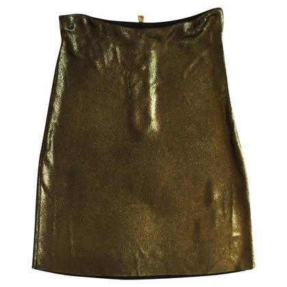 Balmain Golden viscose skirt 38 FR
